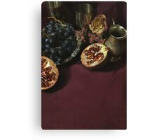 Still life with fruits and metal pitcher Canvas Print