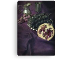 Still life with fruits and silver tools Canvas Print