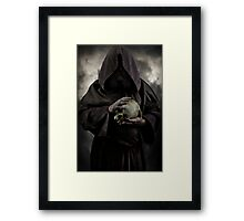 Wizard and an old skull Framed Print