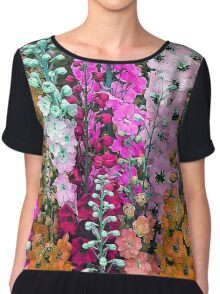Delphinium Floral Nature Fine Art Chiffon Top