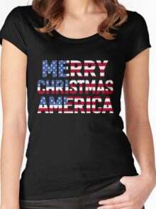 MERRY CHRISTMAS AMERICA Women's Fitted Scoop T-Shirt