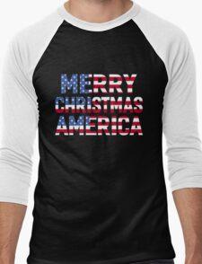 MERRY CHRISTMAS AMERICA Men's Baseball ¾ T-Shirt