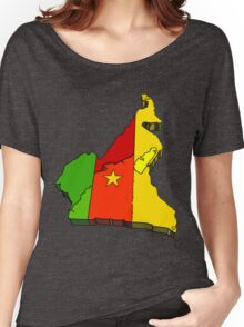 Cameroon Map With Flag of Cameroom Women's Relaxed Fit T-Shirt