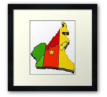 Cameroon Map With Flag of Cameroom Framed Print