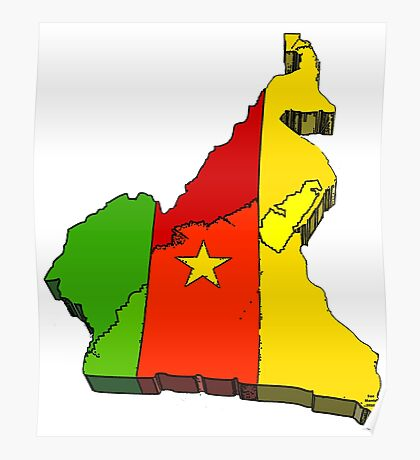 Cameroon Map With Flag of Cameroon Poster