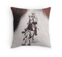 Cowboy Rodeo Horse Cowhide Roping Cow Throw Pillow