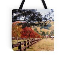 Autumn trees on drive way Tote Bag
