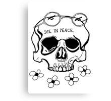 Skull for the Inner Hippe. (Black) Canvas Print
