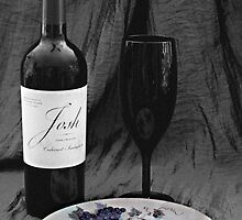 Wine and Plate of Grapes by Sherry Hallemeier