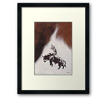 Cowboy Rodeo Bull Riding Cowhide Framed Print