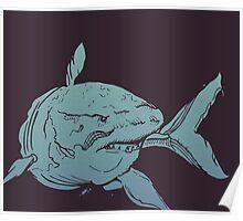 Deep Blue Shark Poster