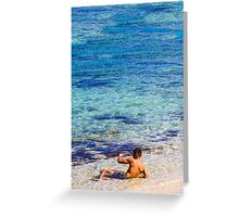 Sexy guy at the beach Greeting Card
