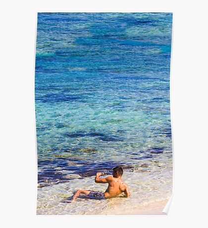 Sexy guy at the beach Poster