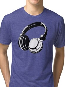 HEADPHONES BLACK Humor Tri-blend T-Shirt