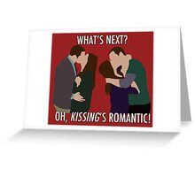 Sheldon & Amy - 'Kissing's romantic!' Greeting Card