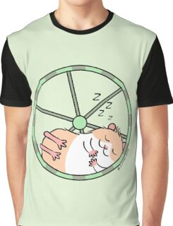 Hamster Sleeping in Exercise Wheel Graphic T-Shirt