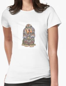 Ornate Pen & Ink Basset Hound Womens Fitted T-Shirt