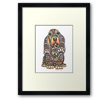 Ornate Pen & Ink Basset Hound Framed Print