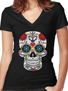 Colorful Sugar Skull Women's Fitted V-Neck T-Shirt