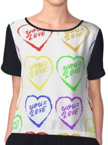 YOU=LOVE RAINBOW LOVE POWER Chiffon Top