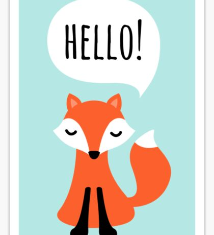 Cute cartoon fox on blue background saying hello Sticker