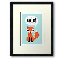 Cute cartoon fox on blue background saying hello Framed Print