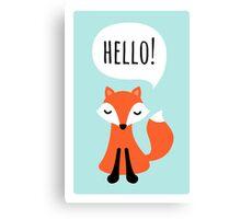 Cute cartoon fox on blue background saying hello Canvas Print