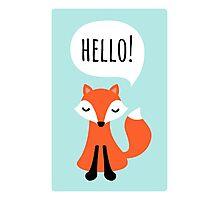 Cute cartoon fox on blue background saying hello Photographic Print