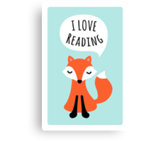 I love reading, cute cartoon fox on blue background Canvas Print