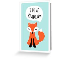 I love reading, cute cartoon fox on blue background Greeting Card
