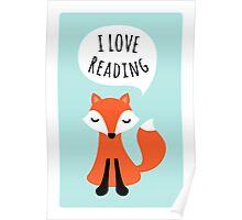 I love reading, cute cartoon fox on blue background Poster