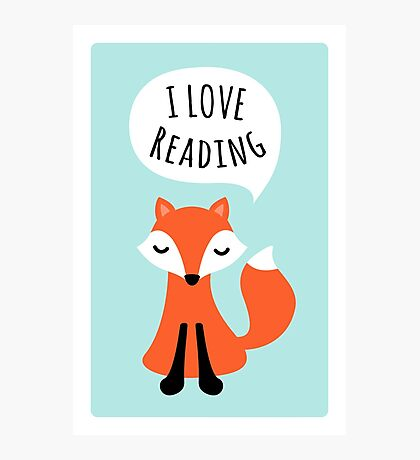 I love reading, cute cartoon fox on blue background Photographic Print