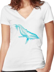 HUMPBACK WHALE IN BLUE Women's Fitted V-Neck T-Shirt