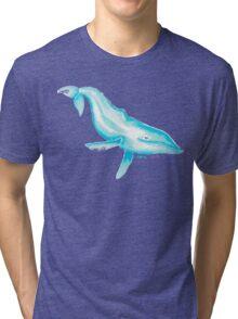 HUMPBACK WHALE IN BLUE Tri-blend T-Shirt