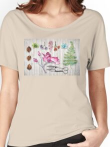 Botanica II Botanical nature study flower, leaf seeds Women's Relaxed Fit T-Shirt