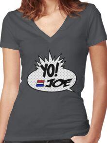 Yo Joe Raps! Women's Fitted V-Neck T-Shirt
