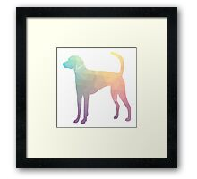 American Foxhound - Colorful Geometric Pattern Silhouette - Pastel Framed Print