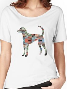 American Foxhound - Colorful Geometric Pattern Silhouette - Plaid Women's Relaxed Fit T-Shirt