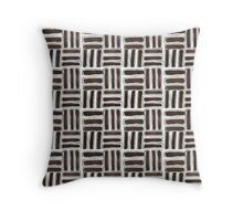 Kapa Tapa Cloth Barkcloth Geometric Tribal Sticks in Cocoa Brown and White Throw Pillow