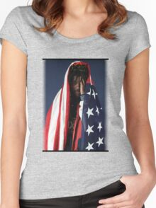 CAPITAL STEEZ - American Flag Women's Fitted Scoop T-Shirt