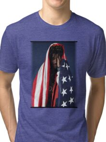 CAPITAL STEEZ - American Flag Tri-blend T-Shirt
