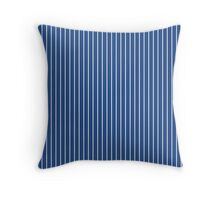 Solid Delphinium Blue Quilt & Thin White Pinstripe Throw Pillow