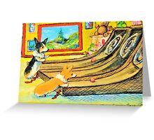 Welsh Pembroke Corgi~Cardigan~Dog~Arcade~Skeeball~painting Greeting Card