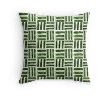 Kapa Tapa Cloth Barkcloth Geometric Tribal Sticks in Palm Green and White Throw Pillow
