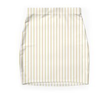 Spicy Mustard Pinstripe on Solid White Mini Skirt