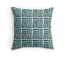Kapa Tapa Cloth Barkcloth Geometric Tribal Sticks in Teal Aqua and White Throw Pillow