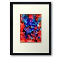 Red Blue abstract ink painting Framed Print