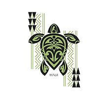 Black & Green Tribal Turtle Tattoo Warrior / Maui by Susan R. Wacker