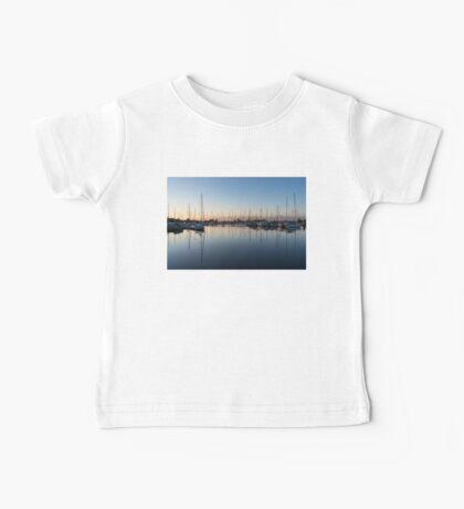 Pink and Blue Serenity - Soft Dawn at the Marina Baby Tee