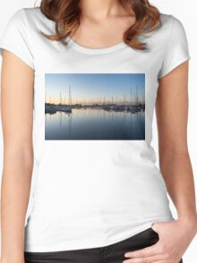 Pink and Blue Serenity - Soft Dawn at the Marina Women's Fitted Scoop T-Shirt